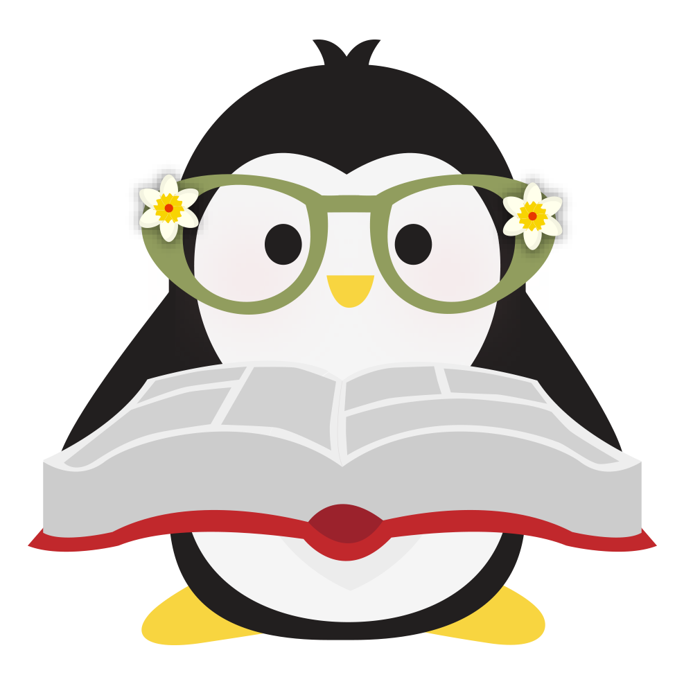 Technical Penguins Content Penguin has green glasses with a flower on them, holding a book open