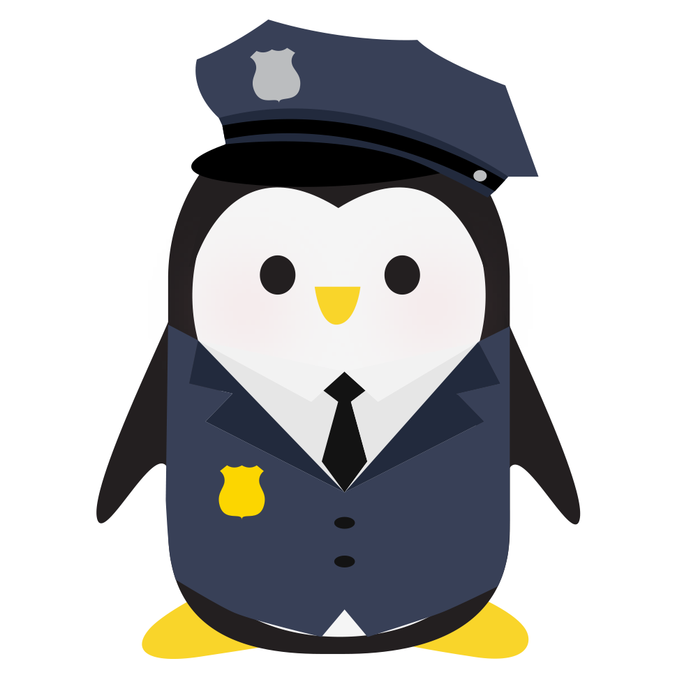 An illustration of a penguin wearing a security guard uniform and hat, with sunglasses and an earpiece.