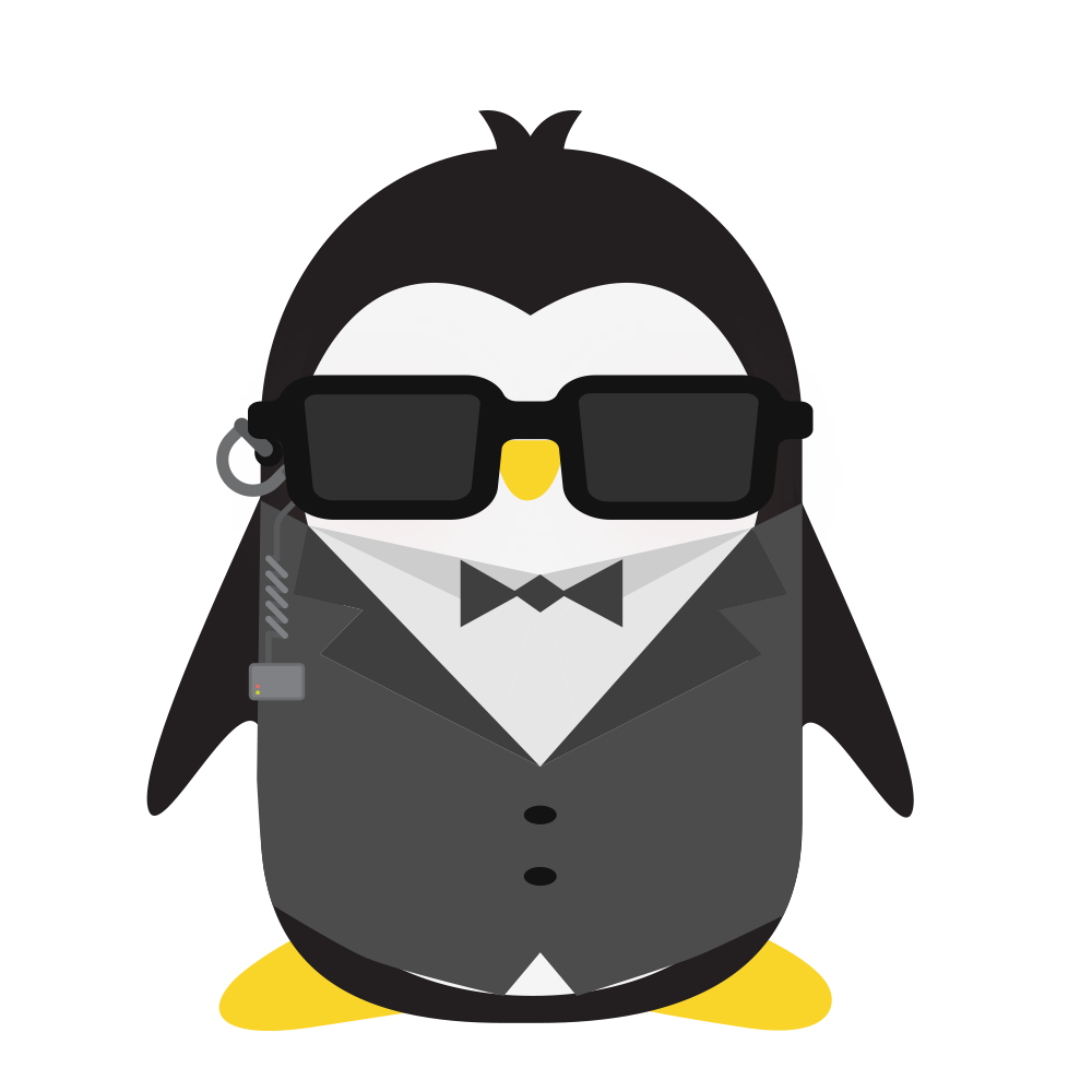 An illustration of a penguin wearing a suit, with sunglasses, an earpiece and a bowtie.