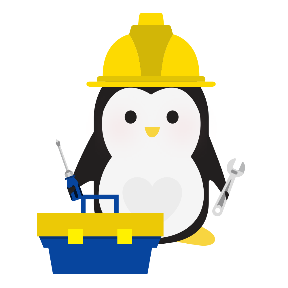 An illustration of a penguin in a hard hat, holding a wrench and a screwdriver, with an open toolbox in front of him.