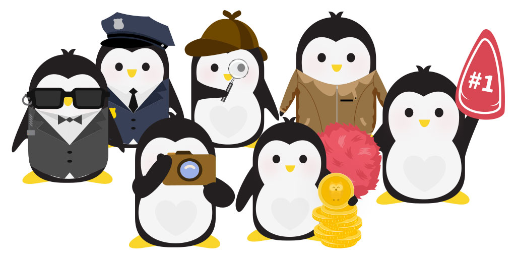 An illustration of a group of penguins - one dressed as a secret service agent, one in a police uniform, one with a camera, one dressed like Sherlock Holmes, one with a pile of giant gold coins, one with a member's-only jacket, and one with a pom-pom and giant foam finger, is depicted.
