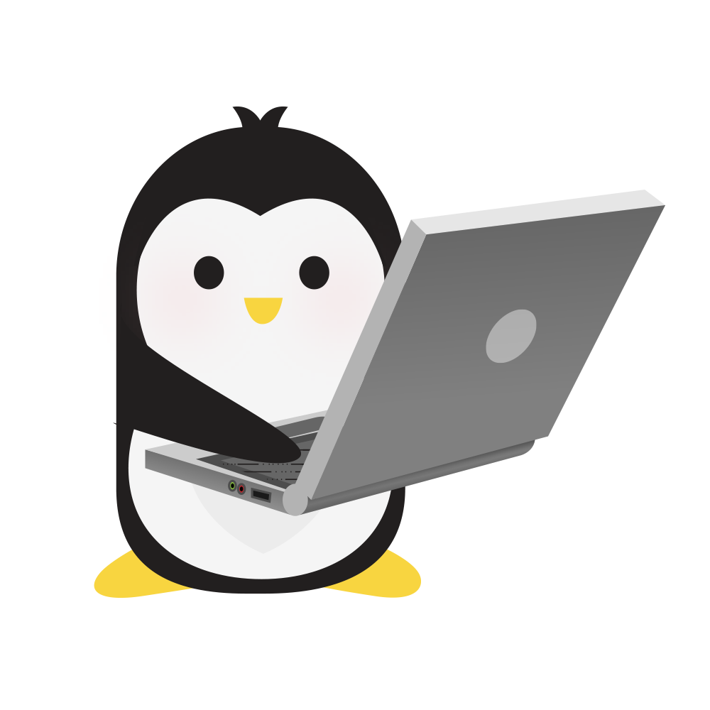 Technical Penguins Development Penguin is holding a large laptop.