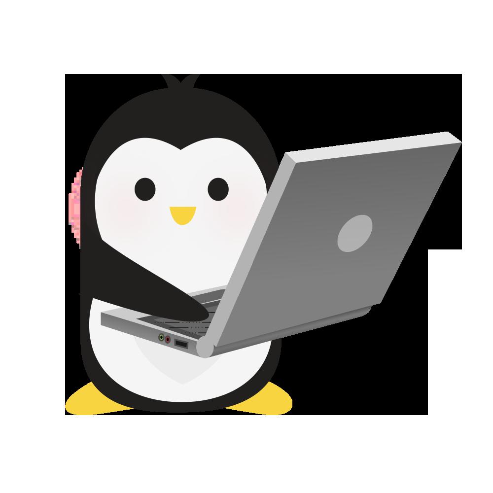 Technical Penguins Development Penguin is holding a large laptop.