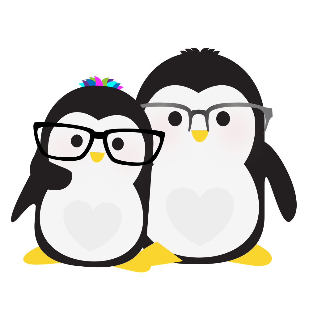 Technical Penguins: Joan Penguin and Dan Penguin are pictured together, both wearing glasses with little tufts of hair.