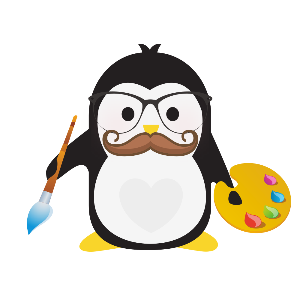 Technical Penguins Design Penguin is holding a paintbrush in one hand and a palette in the other, wearing glasses and a moustache.