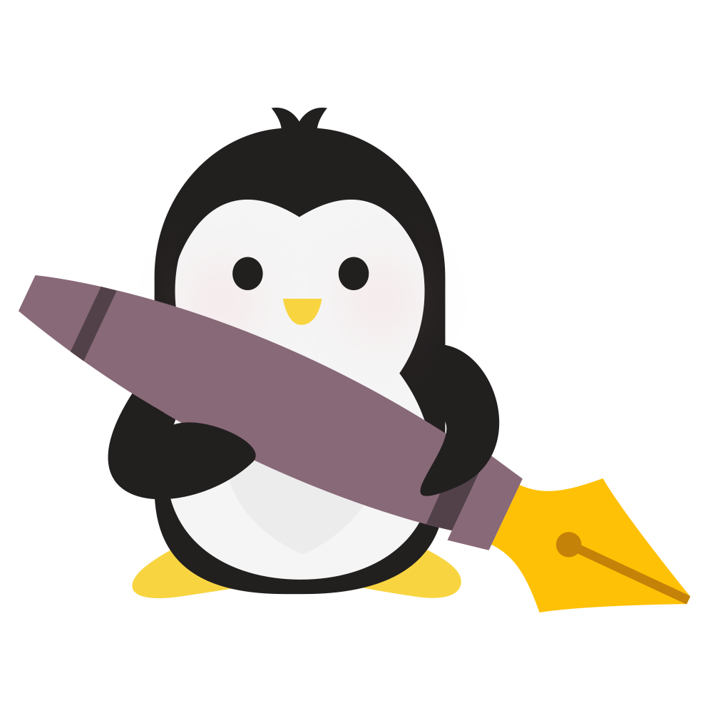 Technical Penguins Content Penguin is holding a large fountain pen.