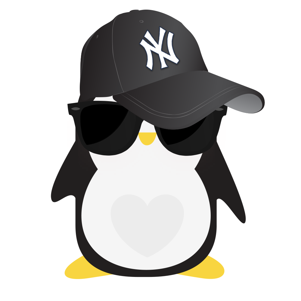 Technical Penguins Privacy Penguin is seen wearing a New York Yankees black baseball cap pulled down over its face as well as a pair of large dark sunglasses.