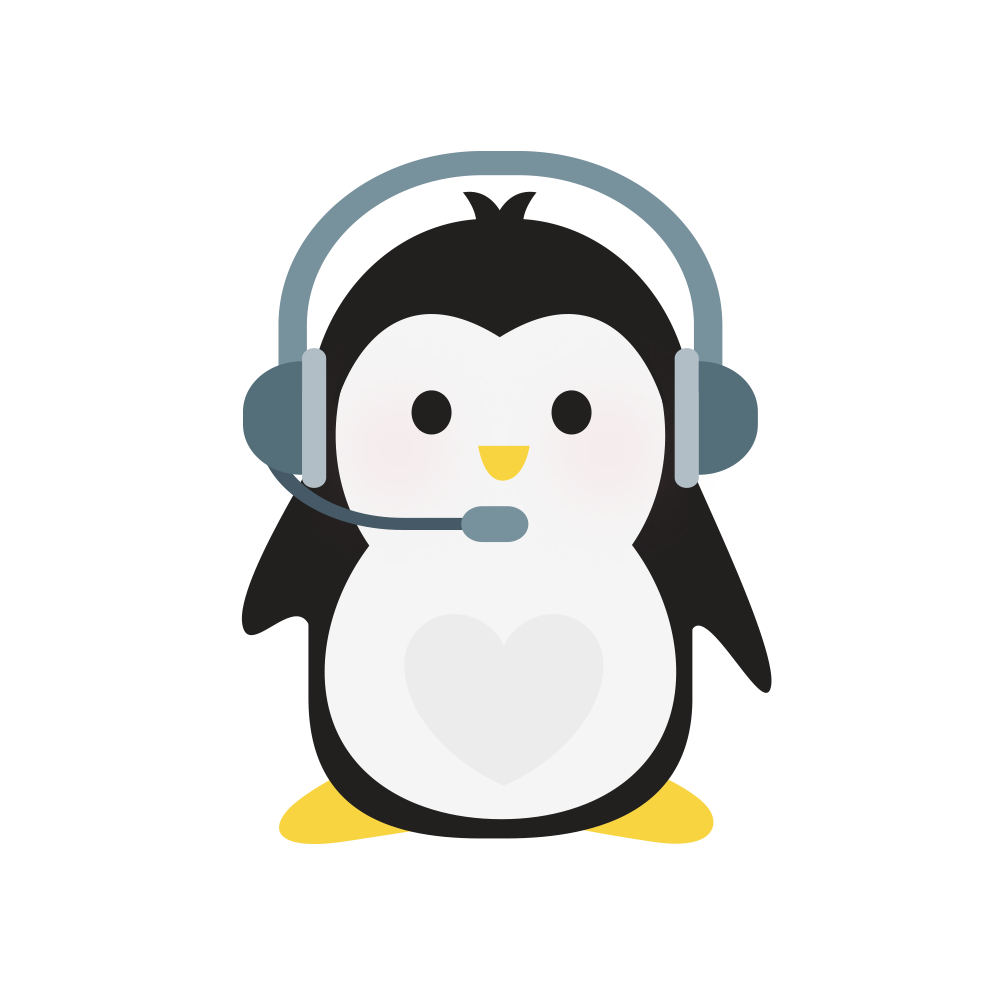 Technical Penguins Contact Penguin is seen wearing a phone headset with microphone.