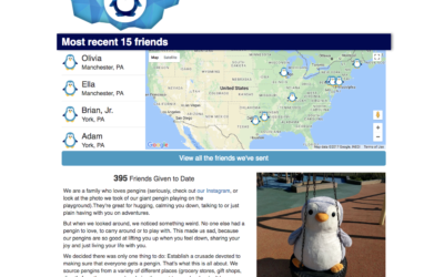 Technical Penguins Case Study: A screenshot of the front page of Pengins For Everyone. It includes a logo and logotype at the top, a map of the 15 most recent places where a pengin was last shipped, a text description and a photo of a very large penguin on a tire swing.