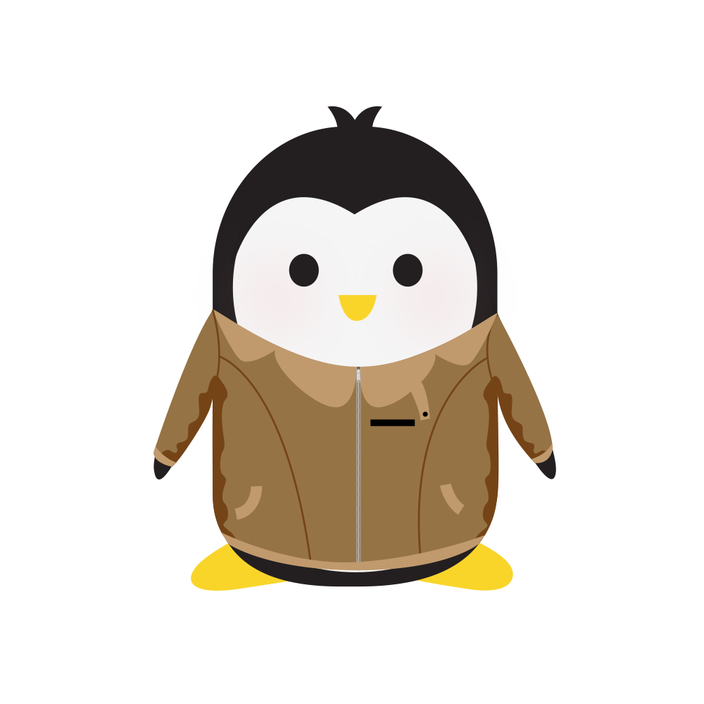 Technical Penguins Subscribers or Members Only Penguin is seen wearing a Members Only-style brown jacket.