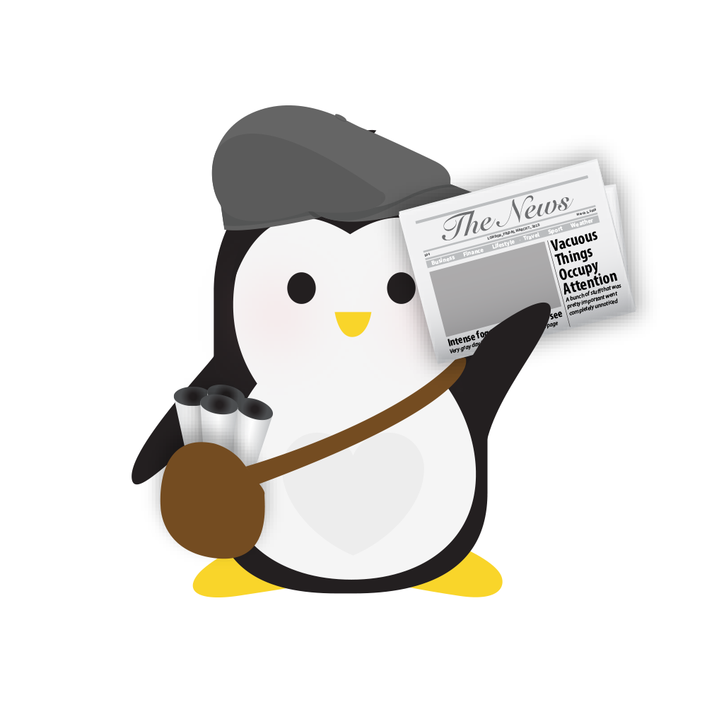 Technical Penguins Subscription Plans Penguin is seen wearing a beanie cap, carrying a shoulderbag of newspapers and waving a newspaper in the air.